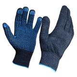 Перчатки вязаные с ПВХ черная пряжа 75гр особопрочные